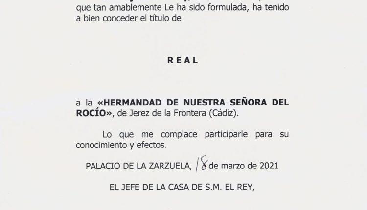 Hermandad de Jerez – El Rey, Felipe VI, concede el título de Real a la Hdad.