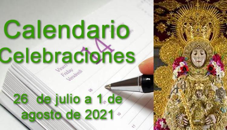 Calendario de celebraciones Rocío para la semana del 26 de julio al 1 de agosto de 2021