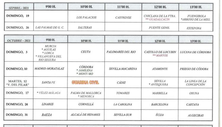 Calendario de Peregrinaciones Hdades. del Rocío 2021-2022